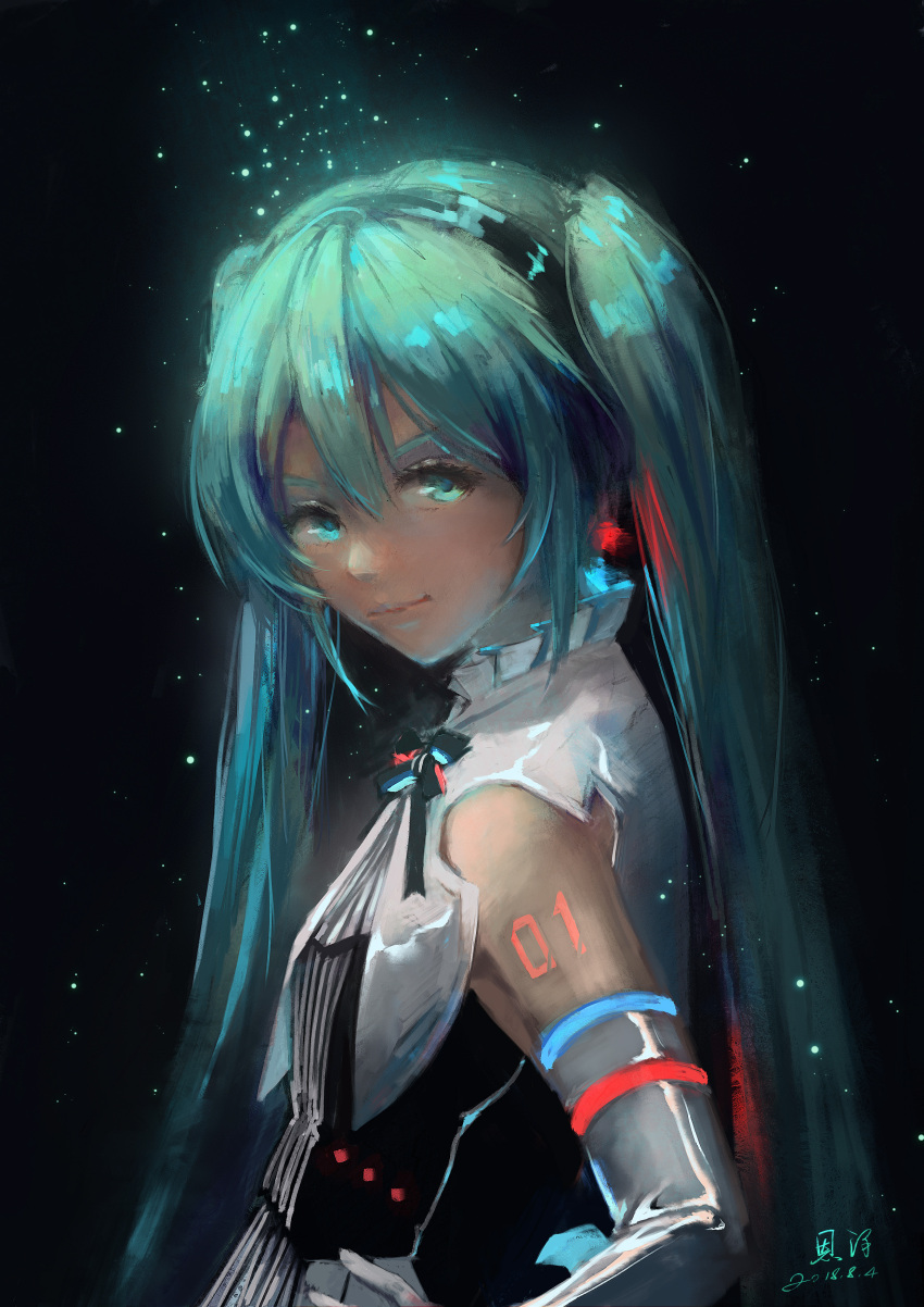 1girl 2018 absurdres aqua_hair black_hairband black_ribbon blue_eyes dated detached_sleeves earrings from_side grey_sleeves hairband hand_on_hip hatsune_miku highres jewelry long_hair looking_at_viewer miku_symphony_(vocaloid) neck_ribbon ribbon signature solo twintails upper_body very_long_hair vocaloid xiaobanbei_milk