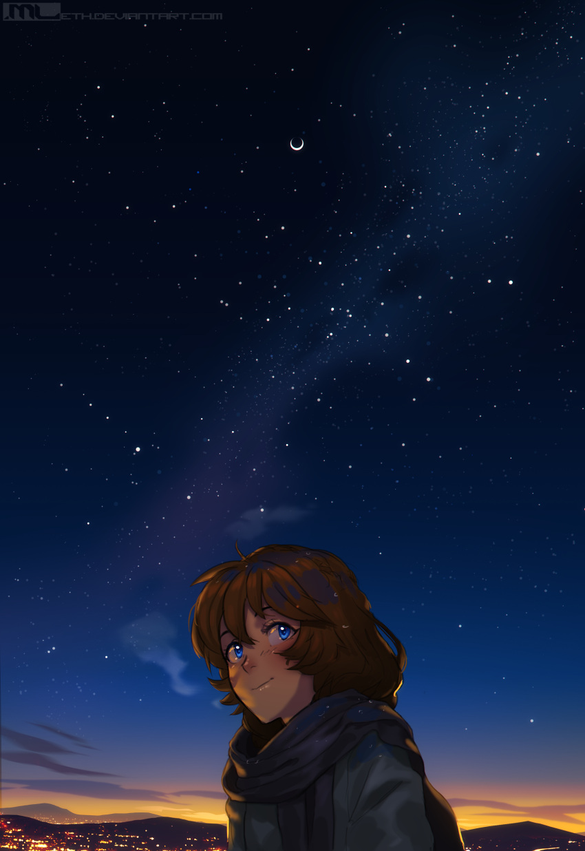 1girl absurdres blue_eyes brooke_(mathias_leth) brown_hair commentary dawn eclipse english_commentary highres huge_filesize landscape light_smile lunar_eclipse mathias_leth moon night night_sky original outdoors scarf sky solo star_(sky) starry_sky upper_body