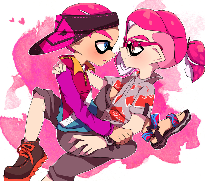 2boys blue_eyes blush brown_eyes collared_shirt glasses inkling jacket looking_at_another male_focus multiple_boys myumyu._baton-nashi on_lap pink_hair shirt sitting sitting_on_lap sitting_on_person splatoon_(series) straddling visor_cap yaoi