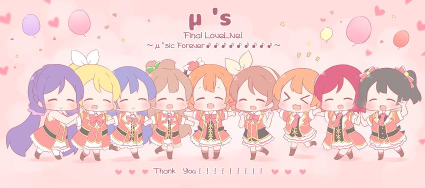 >_< 6+girls :> :3 :d \m/ ^_^ ayase_eli balloon black_hair blonde_hair blush bokura_no_live_kimi_to_no_life bow brown_hair chibi closed_eyes confetti eighth_note group_name hair_bow hairband heart hoshizora_rin koizumi_hanayo kousaka_honoka long_hair love_live! love_live!_school_idol_project minami_kotori multiple_girls musical_note nishikino_maki one_side_up open_mouth orange_hair purple_hair redhead saku_usako_(rabbit) short_hair skirt smile sonoda_umi thank_you toujou_nozomi twintails x3 xd yazawa_nico
