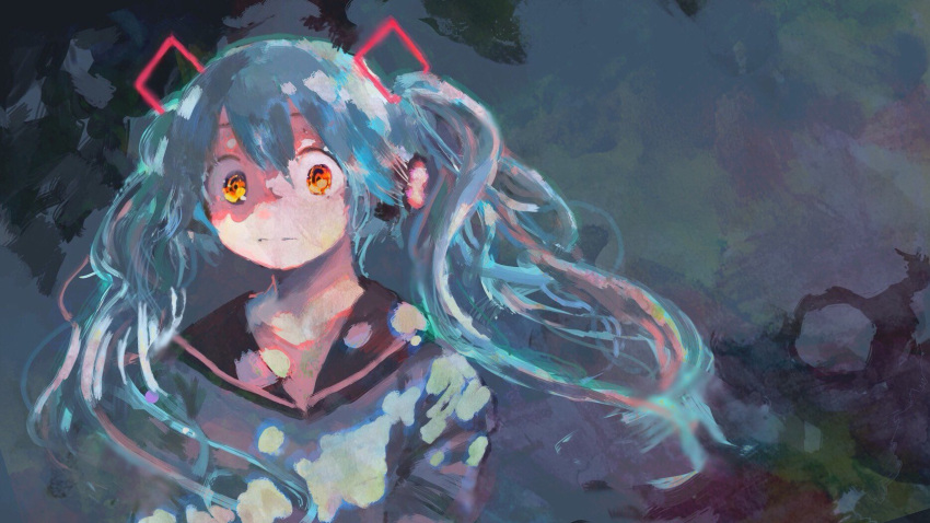 1girl 666haorare666 abstract_background alternate_costume aqua_hair bangs black_background black_sailor_collar commentary_request floating_hair hair_between_eyes hatsune_miku headphones highres long_hair looking_at_viewer no_neckwear sailor_collar solo twintails upper_body vocaloid yellow_eyes
