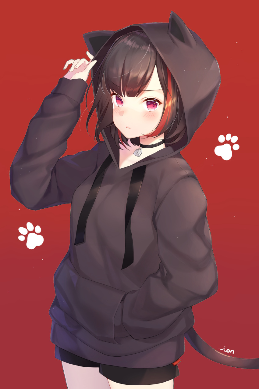 1girl absurdres animal_ears animal_hood artist_name bang_dream! bangs black_choker black_hair black_hoodie black_shorts blush cat_hood cat_tail choker closed_mouth cowboy_shot drawstring eyebrows_visible_through_hair fake_animal_ears frown hand_in_pocket hand_up highres hood hoodie ion_(on01e) light_particles lock long_sleeves looking_at_viewer mitake_ran multicolored_hair padlock paw_background red_background red_eyes redhead shiny shiny_hair short_hair short_shorts shorts simple_background sleeves_past_wrists solo standing streaked_hair tail v-shaped_eyebrows