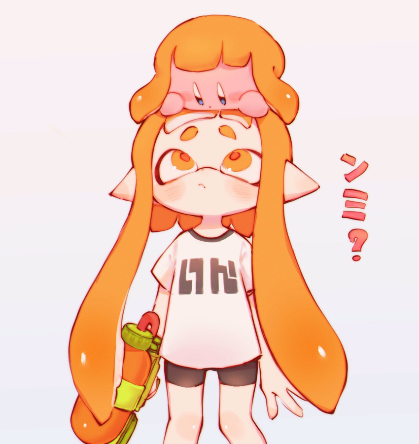 1girl ? bangs bike_shorts black_shorts blunt_bangs blush blush_stickers closed_mouth commentary_request copy_ability domino_mask gun hand_on_another's_head highres holding holding_gun holding_weapon hoshi_no_kirby inkling kirby kirby_(series) looking_at_another looking_down looking_up mask nintendo orange_eyes orange_hair pi_q pointy_ears shirt short_eyebrows short_hair shorts sidelocks simple_background splatoon_(series) splattershot_(splatoon) standing super_smash_bros. super_smash_bros._ultimate tentacle_hair translation_request weapon white_background white_shirt