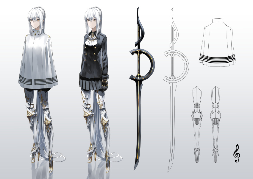 1girl absurdres arms_at_sides cloak expressionless eyebrows_visible_through_hair gloves gold_trim high_heels highres lineart long_hair mecha_musume musical_note original ponytail prosthesis prosthetic_leg simple_background skirt solo sword tsuki-shigure very_long_hair weapon white_hair yellow_eyes