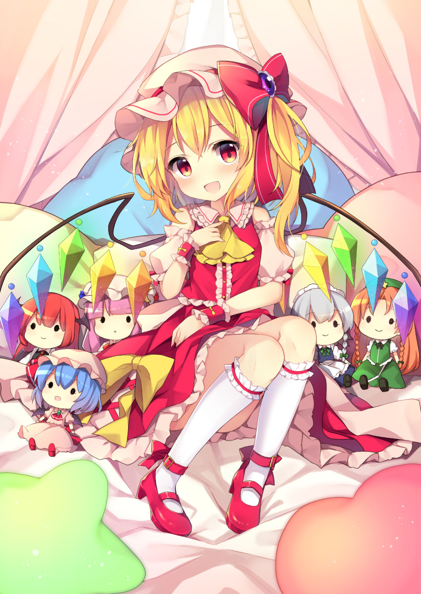1girl :d apron ascot bangs bat_wings bed_sheet beret black_footwear black_vest blonde_hair blue_dress blue_hair blunt_bangs blush bow bowtie braid brooch center_frills character_doll commentary_request crescent crescent_hair_ornament crystal curtains demon_wings detached_sleeves dress eyebrows_visible_through_hair fang flandre_scarlet frilled_apron frilled_shirt_collar frills green_bow green_hat green_neckwear green_skirt green_vest hair_between_eyes hair_bow hair_ornament hand_up hat hat_bow hat_ribbon head_wings high_heels highres hong_meiling izayoi_sakuya jewelry kneehighs koakuma leg_garter long_hair looking_at_viewer maid_apron maid_headdress mary_janes mob_cap one_side_up open_mouth orange_hair patchouli_knowledge petticoat pillow pink_dress pink_hat puffy_short_sleeves puffy_sleeves purple_hair red_bow red_eyes red_footwear red_neckwear red_ribbon red_skirt red_vest redhead remilia_scarlet ribbon ruhika shirt shoes short_hair short_sleeves silver_hair sitting skirt skirt_set smile solo star touhou twin_braids very_long_hair vest waist_apron white_apron white_hat white_legwear white_shirt wings wrist_cuffs yellow_bow