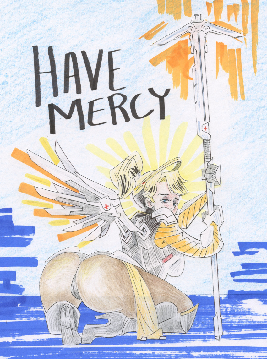 1girl absurdres ass bent_over blonde_hair blush breasts cptfantasy highres kneeling large_breasts lips long_hair looking_at_viewer looking_back mercy_(overwatch) overwatch self_upload short_shorts shorts solo spread_ass spread_legs spread_wings thick_lips thick_thighs thigh-highs thighs traditional_media