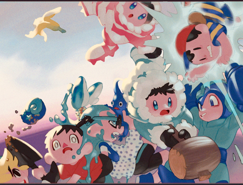 1girl 6+boys android arm_cannon axe banana_peel baseball_cap black_eyes black_hair blonde_hair blue_eyes blue_hair cleats doubutsu_no_mori fur_trim glasses hat helmet highres ice_climber inkling link mallet maro_bideru mittens mother_(game) mother_2 multiple_boys nana_(ice_climber) ness nintendo open_mouth parka pikmin_(creature) popo_(ice_climber) rockman_(character) shirt splatoon_(series) striped striped_shirt super_smash_bros. super_smash_bros._ultimate surprised tentacle_hair the_legend_of_zelda toon_link villager_(doubutsu_no_mori) weapon