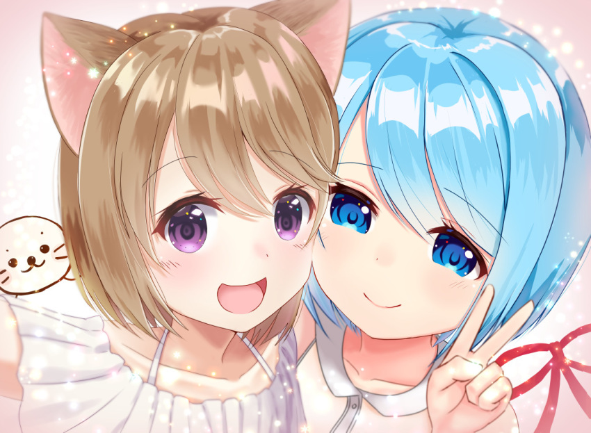 2girls :d bangs blue_eyes blue_hair blush brown_hair character_request closed_mouth collarbone commentary_request copyright_request dress eyebrows_visible_through_hair hair_between_eyes hand_up maid_no_yuki-san mimikaki_(men_bow) multiple_girls open_mouth portrait short_hair sleeveless sleeveless_dress smile v violet_eyes virtual_youtuber white_dress