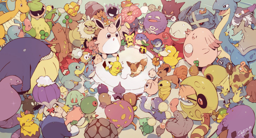 absolutely_everyone bellsprout bird bonsly bulbasaur chansey character_request charmander clefairy combee crab creatures_(company) croconaw dedenne diglett dragonite dratini drowzee ducklett dwebble eevee ekans electrode everyone exeggcute fish floating furret game_boy game_console game_freak gastly gen_1_pokemon gen_2_pokemon gen_3_pokemon gen_4_pokemon gen_5_pokemon gen_6_pokemon gen_7_pokemon gengar geodude handheld_game_console highres hippopotas horsea igglybuff jigglypuff kakuna koffing krabby lapras link_cable lunatone luvdisc machoke magikarp magnemite manectric marill metagross munchlax nintendo no_humans oddish open_mouth orushibu owl parasect phanpy pichu pikachu piloswine piplup playing_games pokemon pokemon_(creature) poliwag poliwrath psyduck purugly rowlet slaking slowpoke smile snake snubbull spheal spoink sudowoodo sunkern tangela togepi trubbish venonat victreebel video_game vileplume voltorb vulpix wailmer watching weedle whale whismur wigglytuff wobbuffet