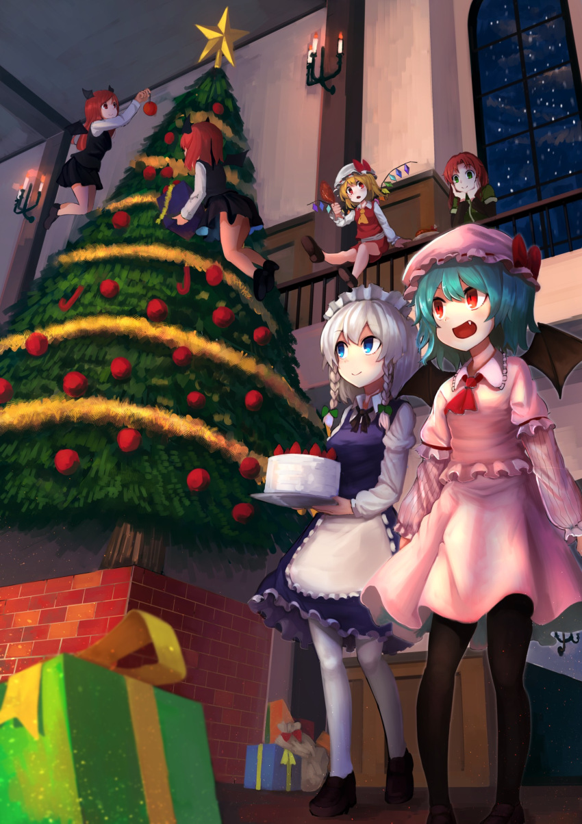 6+girls :d absurdres apron arms_at_sides bat_wings black_footwear black_legwear black_neckwear black_skirt black_vest blonde_hair blouse blue_eyes blue_hair blue_skirt blue_vest box braid brown_footwear cake candle chestnut_mouth christmas christmas_ornaments christmas_tree commentary cravat decorating dual_persona elbow_rest fang flandre_scarlet flying food from_below fruit gift gift_box green_eyes green_shirt hat hat_ribbon head_in_hand head_rest head_wings highres holding holding_box holding_cake holding_food hong_meiling indoors isemori izayoi_sakuya koakuma layered_sleeves leaning_on_rail leg_lift loafers long_hair long_sleeves looking_at_another looking_at_viewer looking_up maid_headdress mob_cap multiple_girls neck_ribbon night night_sky open_mouth pantyhose pink_blouse pink_skirt plate red_eyes red_neckwear red_skirt red_vest redhead remilia_scarlet ribbon shirt shoes short_hair short_sleeves silver_hair sitting_on_railing skirt sky smile standing star star_(sky) starry_sky strawberry symbol_commentary touhou turkey_leg twin_braids vest waist_apron walking white_legwear white_shirt window wings yellow_neckwear