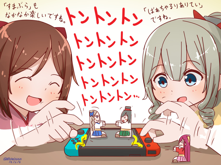 2girls asakaze_(kantai_collection) black_hair blue_eyes blue_hakama bow brown_hair cardboard_sumo closed_eyes commentary_request controller dated drill_hair eyebrows_visible_through_hair game_console game_controller hair_bow hakama handheld_game_console harukaze_(kantai_collection) hat hatakaze_(kantai_collection) highres japanese_clothes joy-con kamikaze_(kantai_collection) kantai_collection kimono light_brown_hair long_hair matsukaze_(kantai_collection) meiji_schoolgirl_uniform miccheru mini_hat mini_top_hat multiple_girls nintendo_switch open_mouth pink_hakama pink_kimono ponytail red_bow red_kimono short_hair smile top_hat translation_request twin_drills twitter_username wavy_hair white_kimono you're_doing_it_wrong