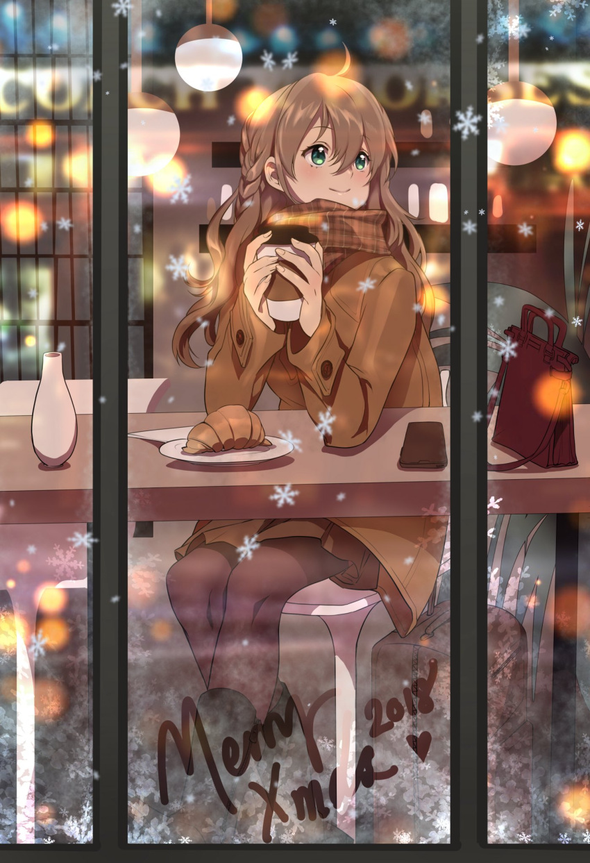 1girl ahoge bag braid brown_coat brown_hair brown_skirt cellphone christmas closed_mouth coat coffee_cup commentary counter cup disposable_cup english_commentary green_eyes hair_between_eyes handbag highres lights long_hair looking_up merry_christmas original pantyhose pastry phone plate scarf sitting skirt smartphone smile snowflakes table window yume_ou
