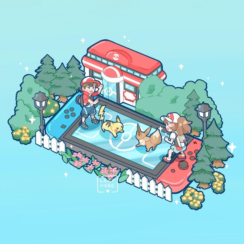 1boy 1girl ayumi_(pokemon) commentary creature creatures_(company) eevee english_commentary game_freak gen_1_pokemon highres kakeru_(pokemon) nintendo pikachu pokemon pokemon_(creature) pokemon_(game) pokemon_center pokemon_lgpe yamato-leaphere