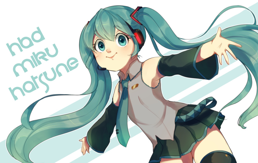 1girl aqua_eyes aqua_hair aqua_neckwear bangs bare_shoulders bi_shakalaka black_legwear black_skirt character_name closed_mouth collared_shirt commentary detached_sleeves english_commentary eyebrows_visible_through_hair grey_shirt hair_between_eyes hair_ornament happy_birthday hatsune_miku headset highres long_hair miniskirt necktie outstretched_arms pleated_skirt shirt skirt sleeveless smile solo spread_arms thigh-highs twintails very_long_hair vocaloid wing_collar zettai_ryouiki