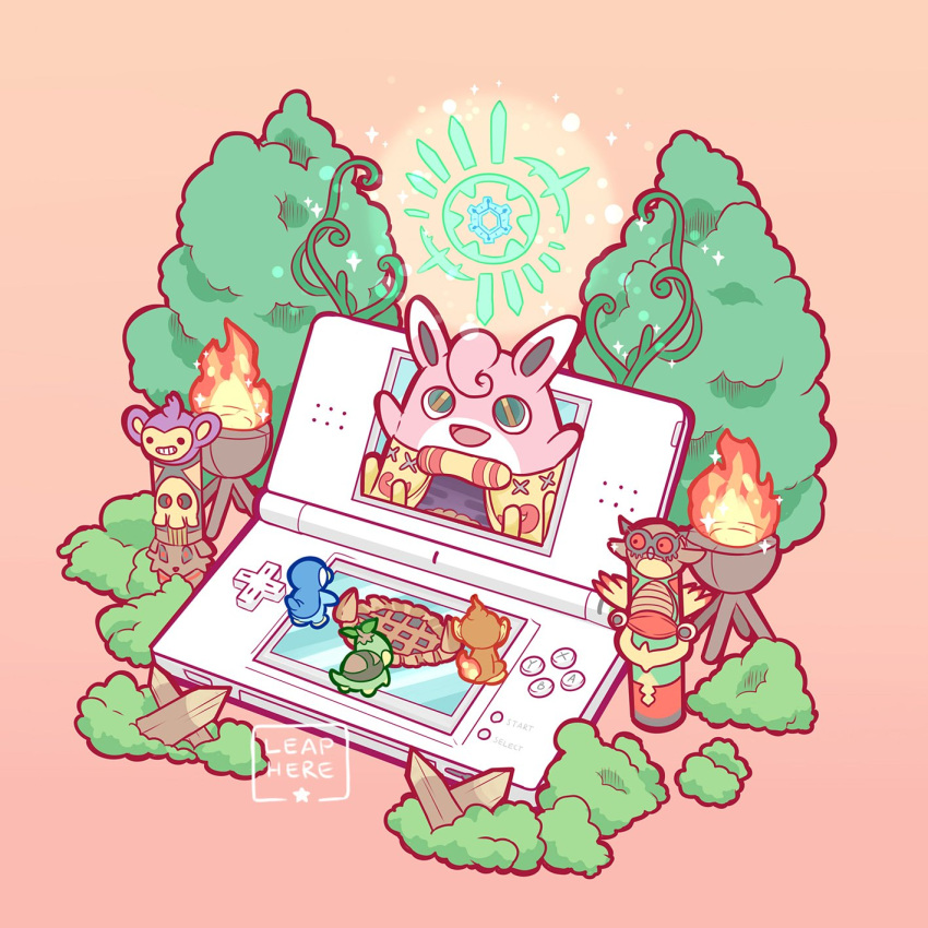 :d aipom arms_up bush chimchar creature creatures_(company) fire flame fushigi_no_dungeon game_freak gen_1_pokemon gen_2_pokemon gen_4_pokemon gradient gradient_background green_eyes happy highres hoothoot nintendo no_humans open_mouth orange_background piplup pokemon pokemon_(creature) pokemon_(game) pokemon_fushigi_no_dungeon red_eyes simple_background smile totem turtwig yamato-leaphere