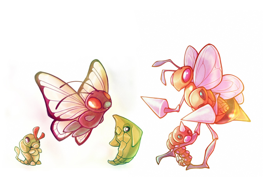 antennae bee beedrill bug butterfly butterfree caterpie commentary creature creatures_(company) english_commentary evolution eye_contact fangs flying francis_lumanog game_freak gen_1_pokemon holding holding_pokemon horn insect kakuna looking_at_another metapod nintendo no_humans orange_eyes pink_eyes pokemon pokemon_(creature) simple_background standing standing_on_one_leg weedle white_background