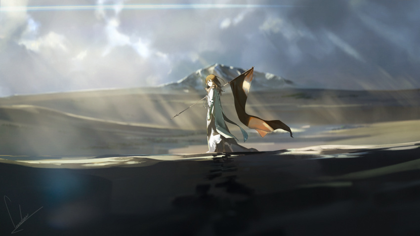 1girl brown_hair commentary_request flag footprints highres landscape looking_at_viewer looking_back loundraw medium_hair mountain original robe scarf solo sunlight walking