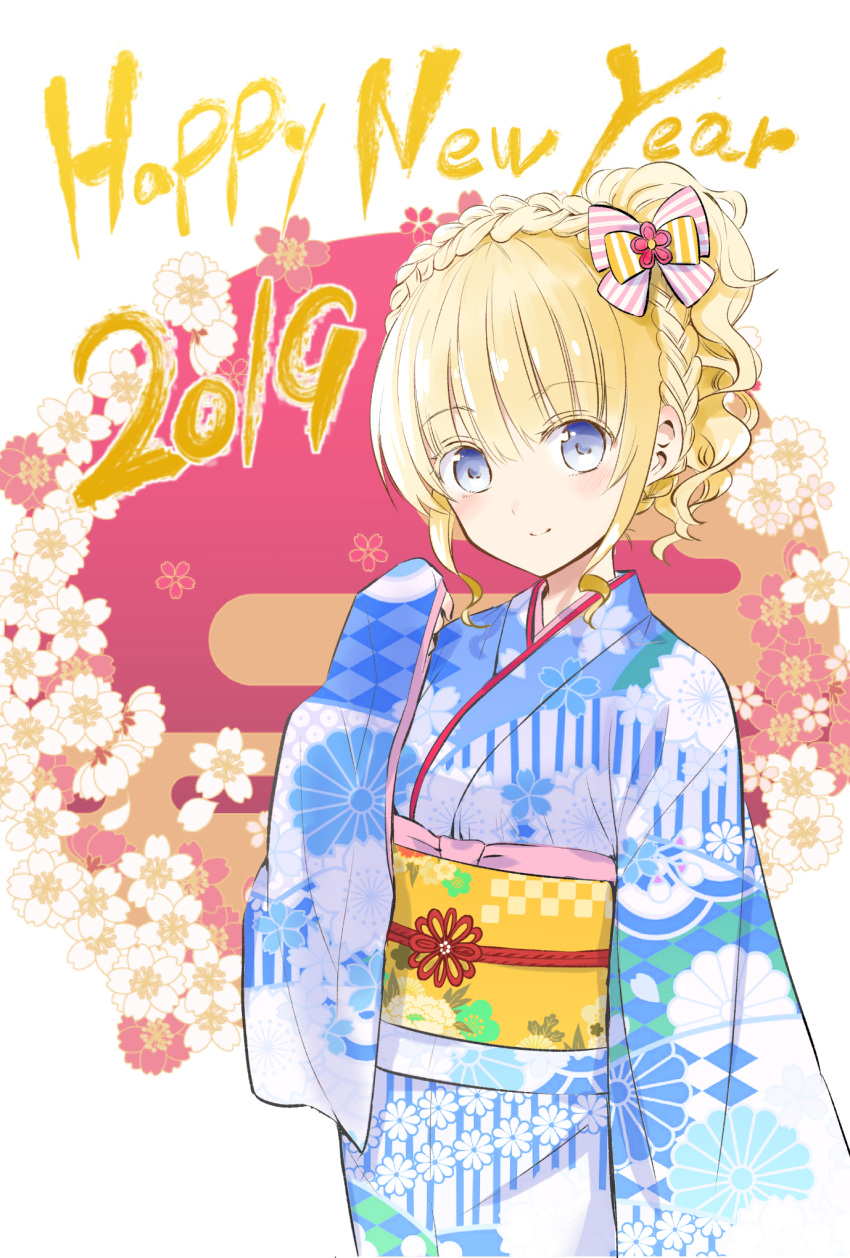 1girl 2019 bangs blonde_hair blue_eyes blue_kimono blush bow braid closed_mouth commentary_request crown_braid eyebrows_visible_through_hair floral_print flower hair_between_eyes hair_bow hand_up happy_new_year head_tilt high_ponytail highres japanese_clothes juliet_persia kimono kishuku_gakkou_no_juliet long_sleeves natsupa new_year obi ponytail print_kimono red_background red_flower sash sleeves_past_wrists smile solo striped striped_bow two-tone_background white_background white_flower