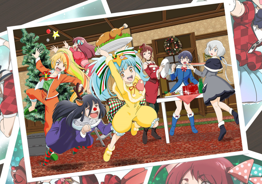 6+girls ahoge alternate_costume antlers aqua_hair bandage black_hair blonde_hair blue_eyes bow brown_hair choker christmas_tree collarbone eyebrows_visible_through_hair eyes_visible_through_hair food hair_between_eyes hair_bow hair_ornament hair_over_one_eye hair_ribbon heart highres hoshikawa_lily jacket konno_junko long_hair low_twintails minamoto_sakura mizuno_ai multicolored_hair multiple_girls nikaidou_saki open_mouth photo polka_dot polka_dot_bow ponytail red_eyes red_nose redhead ribbon sdmmrkw short_hair silver_hair skirt star star_hair_ornament streaked_hair turkey_(food) twintails yamada_tae yellow_eyes yuugiri_(zombie_land_saga) zombie_land_saga
