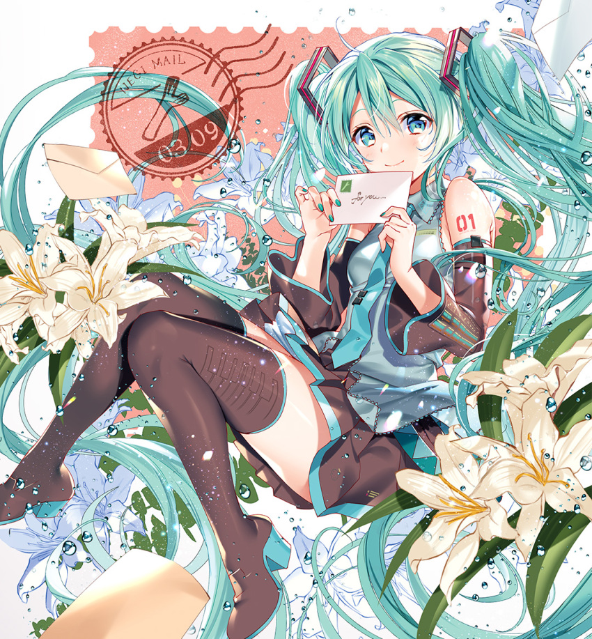 1girl 39 aqua_eyes aqua_hair boots detached_sleeves envelope floating_hair flower hatsune_miku high_heels long_hair murakami_yuichi necktie number_tattoo shirt sitting skirt sleeveless sleeveless_shirt solo spring_onion tattoo thigh-highs thigh_boots twintails very_long_hair vocaloid