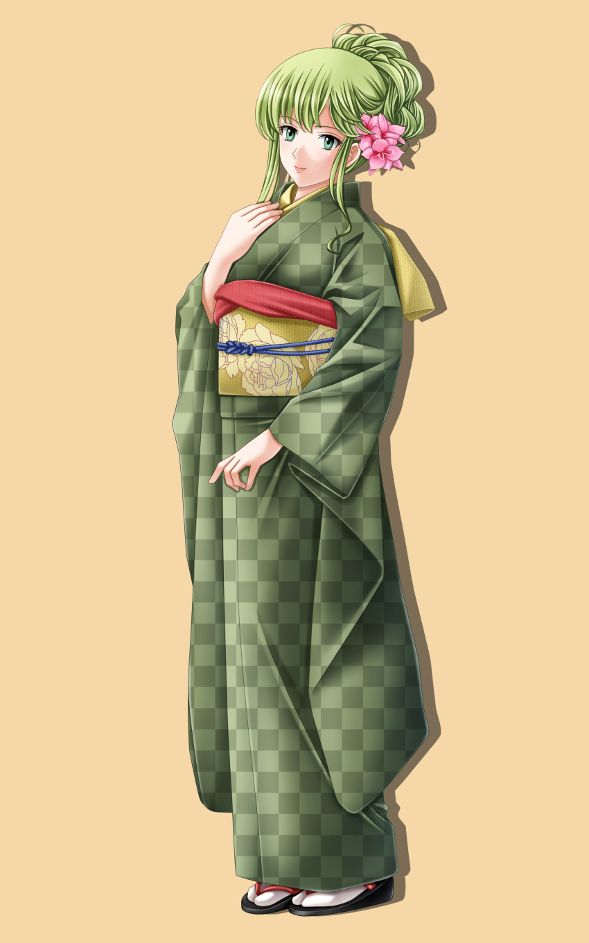 1girl absurdres fire_emblem fire_emblem:_monshou_no_nazo fire_emblem_heroes full_body green_eyes green_hair highres japanese_clothes kimono long_hair looking_at_viewer nintendo paola pegasus_knight simple_background smile solo standing tachi-e tamamon white_background