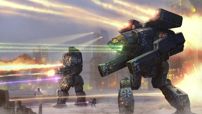 anthony_scroggins_(shimmering_sword) battle battletech cannon energy_beam laser madcat mecha missile missile_pod realistic science_fiction snow walker