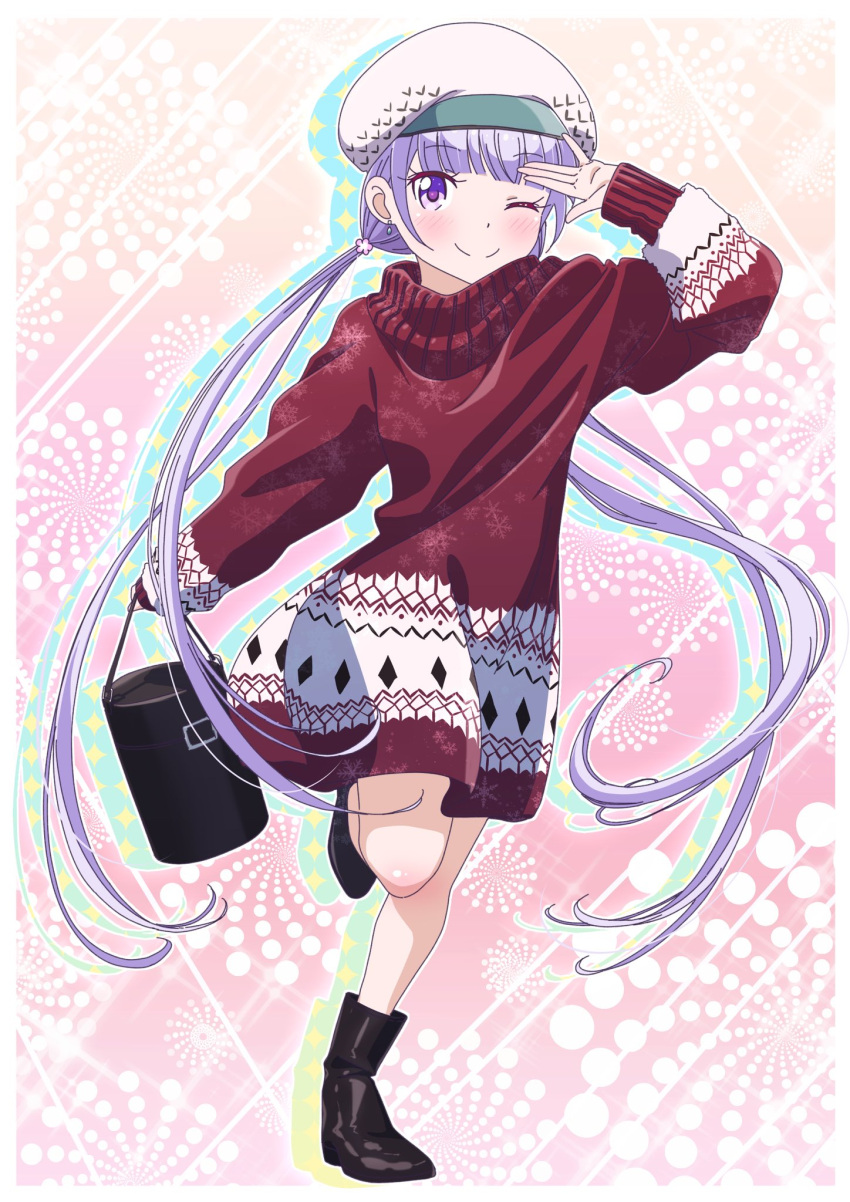 1girl ;) arm_up bag black_footwear blush boots comic_lo dress earrings eyebrows_visible_through_hair floating_hair full_body hat highres holding holding_bag jewelry leg_up long_hair long_sleeves looking_at_viewer new_game! one_eye_closed outstretched_arm pink_x print_sweater purple_hair red_sweater smile snowflake_print solo standing standing_on_one_leg suzukaze_aoba sweater sweater_dress twintails very_long_hair violet_eyes white_hat