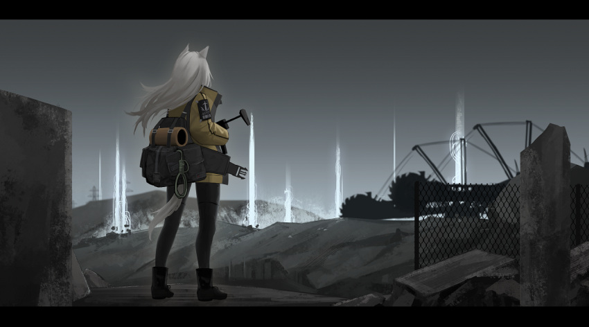 1girl animal_ears backpack bag dw facing_away full_body gun holding holding_gun holding_weapon jacket letterboxed long_hair original outdoors solo submachine_gun tail weapon white_hair