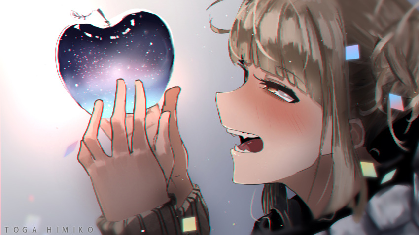 1girl apple bangs beige_sweater blonde_hair blush boku_no_hero_academia character_name commentary_request eyebrows_visible_through_hair face fangs fingers food from_side fruit galaxy hair_bun half-closed_eyes hands happy highres holding holding_food messy_hair open_mouth out_of_frame short_hair simple_background solo star teeth toga_himiko tongue yellow_eyes zd_(pixiv6210083)