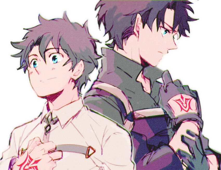 1boy black_hair blue_eyes buckle chaldea_uniform chromatic_aberration command_spell fate/grand_order fate_(series) fujimaru_ritsuka_(male) gloves glowing glowing_eyes grey_background grey_hair hand_on_own_chest hand_up highres jacket looking_away military military_uniform popped_collar profile simple_background sketch uniform upper_body variations white_jacket yuki_1217k