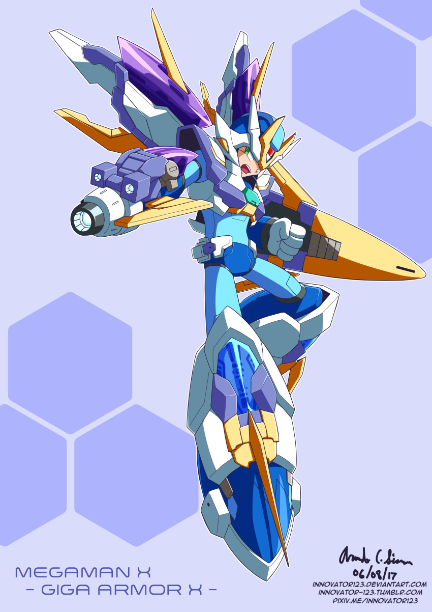 1boy absurdres android arm_cannon armor capcom commentary english_commentary gloves green_eyes helmet highres innovator123 male_focus robot rockman rockman_x rockmanx solo solo_focus weapon x_(rockman)