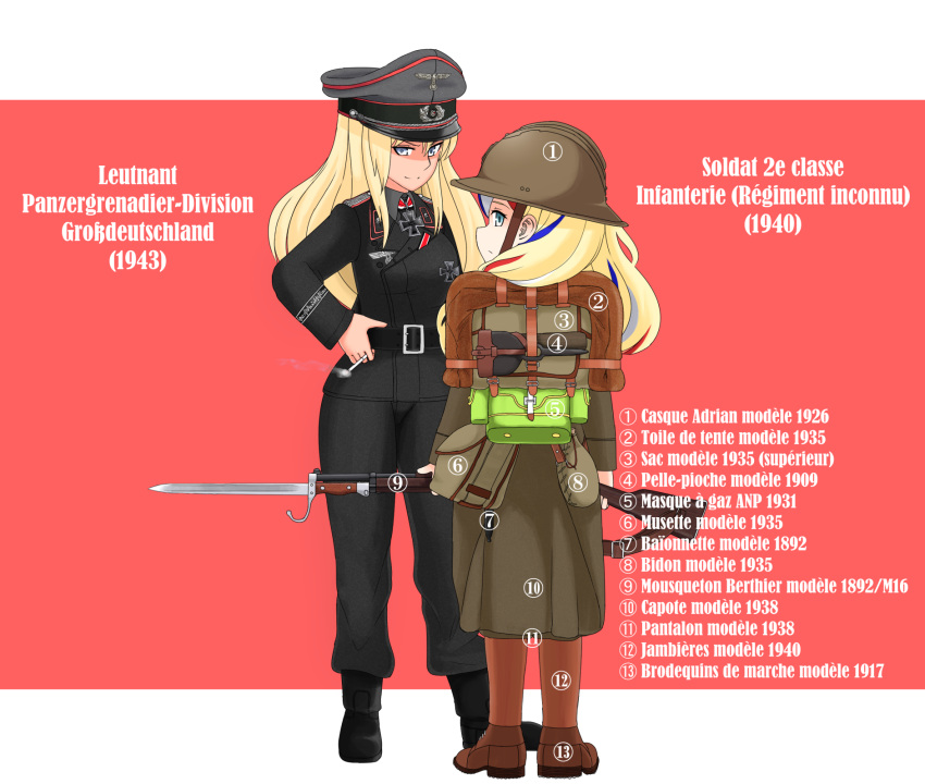 2girls alternate_costume backpack bag bismarck_(kantai_collection) black_coat black_pants blonde_hair blue_eyes blue_hair boots border cigarette commandant_teste_(kantai_collection) commentary_request french_army gun hat helmet highres holding holding_cigarette kantai_collection long_hair military military_hat military_uniform multicolored multicolored_hair multiple_girls nb_(pixiv594732) pants peaked_cap pink_background redhead rifle streaked_hair title trench_coat uniform weapon wehrmacht white_border white_hair