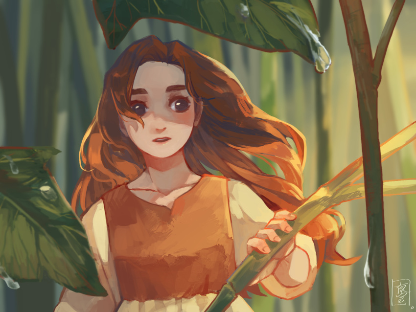 1girl arrietty brown_eyes brown_hair collarbone commentary_request dew_drop dress highres karigurashi_no_arrietty long_hair long_sleeves minigirl open_mouth plant solo sophie_usui upper_body water_drop