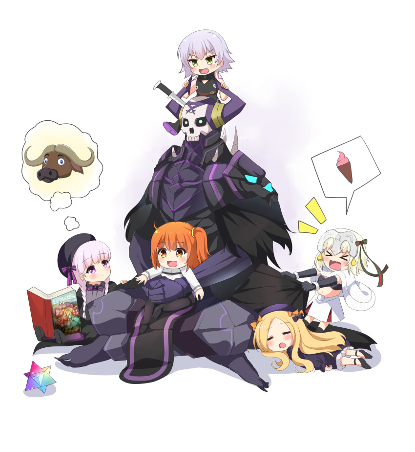 >_< 1boy 5girls :d abigail_williams_(fate/grand_order) absurdres agung_syaeful_anwar armor bangs bare_shoulders bell beret bikini_top black_bikini_top black_bow black_cloak black_dress black_footwear black_gloves black_hat blonde_hair blush book bow braid brown_eyes brown_hair bull capelet chaldea_uniform closed_eyes commentary dress elbow_gloves english_commentary eyebrows_visible_through_hair fate/extra fate/grand_order fate_(series) food forehead fujimaru_ritsuka_(male) gloves glowing glowing_eyes gothic_lolita green_bow green_eyes green_ribbon hair_bow hat headpiece highres ice_cream ice_cream_cone jack_the_ripper_(fate/apocrypha) jacket jeanne_d'arc_(fate)_(all) jeanne_d'arc_alter_santa_lily king_hassan_(fate/grand_order) knife_in_head legs_crossed lolita_fashion long_hair low_twintails lying multiple_girls nursery_rhyme_(fate/extra) on_lap on_stomach one_side_up open_book open_mouth orange_bow parted_bangs pink_hair ribbon saint_quartz shirt shoe_soles shoes shoulder_tattoo silver_hair skull sleeping sleeveless sleeveless_shirt smile soft_serve spikes spoken_object striped striped_bow striped_ribbon tattoo twin_braids twintails uniform very_long_hair wavy_mouth white_background white_capelet white_dress white_jacket