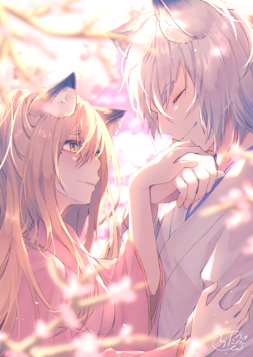 1boy 1girl animal_ear_fluff animal_ears blonde_hair blurry blurry_background blurry_foreground blush brown_hair chita_(ketchup) closed_eyes closed_mouth commentary_request depth_of_field fox_ears hands_together highres japanese_clothes kimono long_hair original parted_lips petals pink_eyes pink_kimono profile red_eyes short_sleeves signature silver_hair tree_branch upper_body white_background white_kimono wide_sleeves