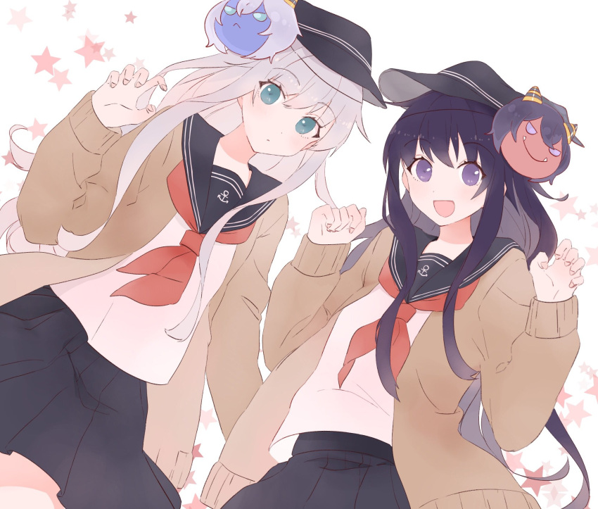 2girls :o akatsuki_(kantai_collection) anchor anchor_symbol bangs black_skirt blue_eyes blush cardigan claw_pose eyebrows_visible_through_hair hat hibiki_(kantai_collection) highres kantai_collection long_hair looking_at_viewer multiple_girls oni_mask open_mouth pleated_skirt purple_hair sailor_collar school_uniform serafuku shakemi_(sake_mgmgmg) simple_background skirt star violet_eyes white_background white_hair