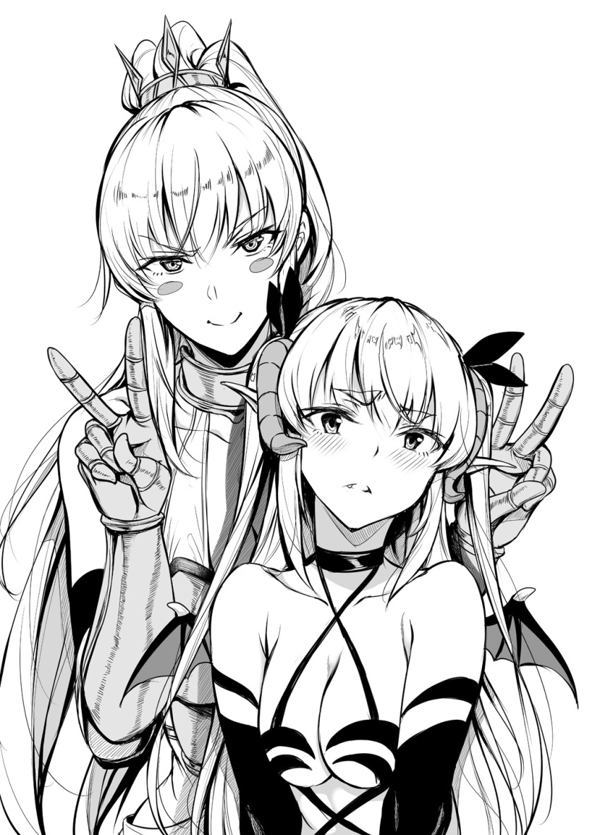 2girls bare_shoulders blush_stickers bow breasts choker cleavage commentary demon_girl demon_horns demon_tail demon_wings double_v eyebrows_visible_through_hair gauntlets gentsuki greyscale hair_bow high_ponytail highres horns lily_(gentsuki) long_hair monochrome multiple_girls original pointy_ears revealing_clothes succubus tail thick_eyebrows two_side_up v wings