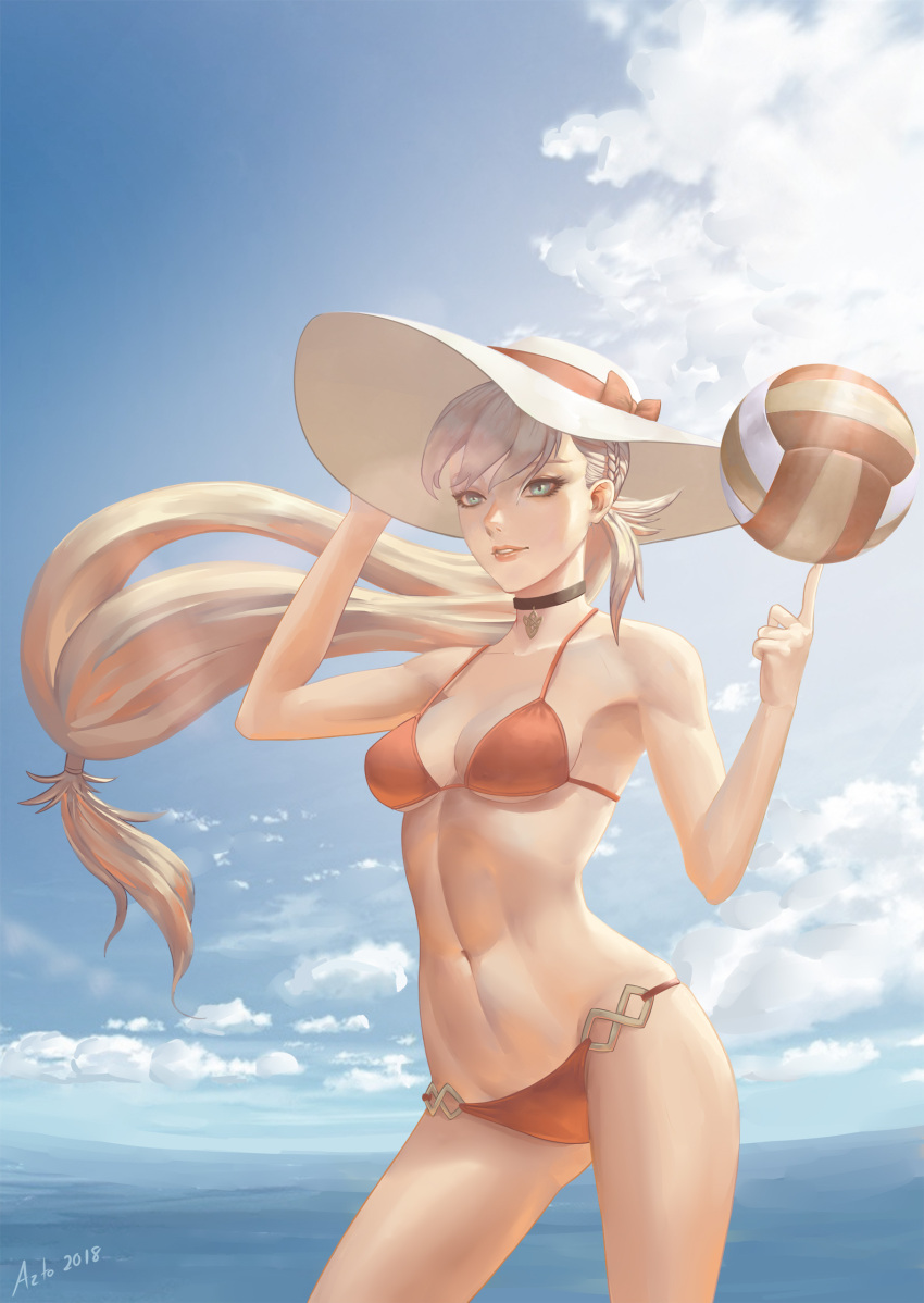 1girl 2018 adjusting_clothes adjusting_hat azto_dio bikini black_choker blonde_hair blue_eyes braid breasts choker clouds collarbone commentary day english_commentary fire_emblem fire_emblem_heroes hat hat_ribbon highres long_hair low-tied_long_hair medium_breasts navel nintendo ocean red_bikini red_ribbon ribbon sharena signature solo sun_hat sunlight swimsuit volleyball