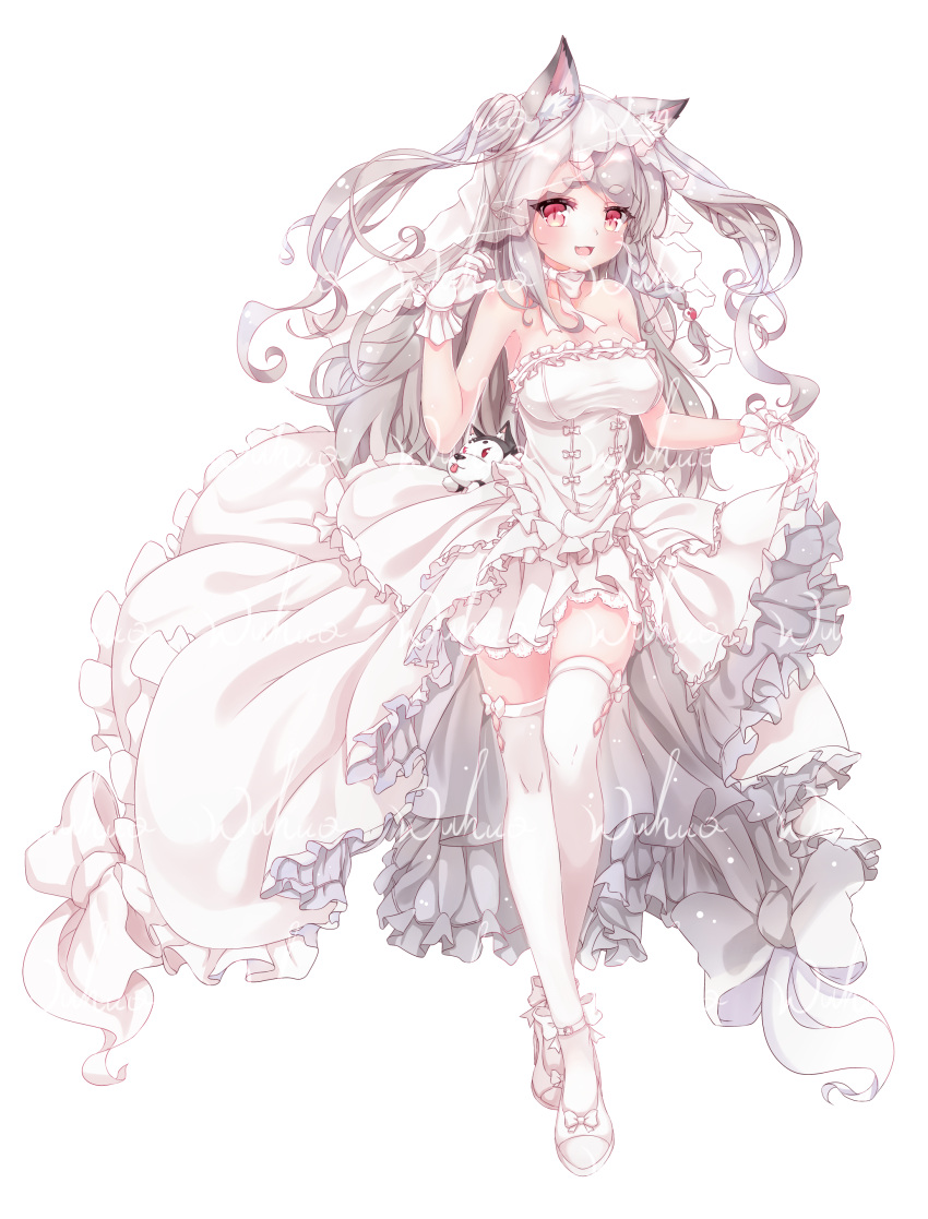 1girl absurdres alternate_costume animal_ears azur_lane bare_shoulders blush bridal_veil bride chinese_commentary choker commentary_request dog_ears dress eyebrows_visible_through_hair fang frilled_dress frills full_body gloves highres looking_at_viewer open_mouth red_eyes ribbon_choker simple_background sleeveless smile solo stuffed_animal stuffed_dog stuffed_toy thigh-highs veil wedding_dress white_background white_gloves white_hair white_legwear wuhuo yuudachi_(azur_lane) zettai_ryouiki