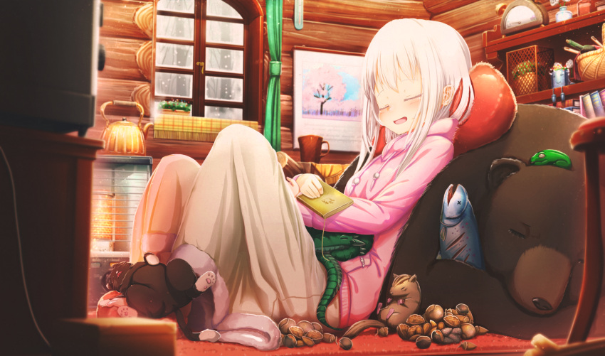 1girl :d abo_(kawatasyunnnosukesabu) animal animal_on_lap bangs basket bear black_cat blanket blush book cat chipmunk closed_eyes commentary_request cup dragon drawstring fish frog heater highres holding holding_book hood hood_down indoors knees_up log_cabin long_hair long_sleeves mug nut_(food) open_mouth original painting_(object) pillow pink_hoodie plant potted_plant shelf sitting sleeping smile snowing solo squirrel teapot vase white_hair window winter