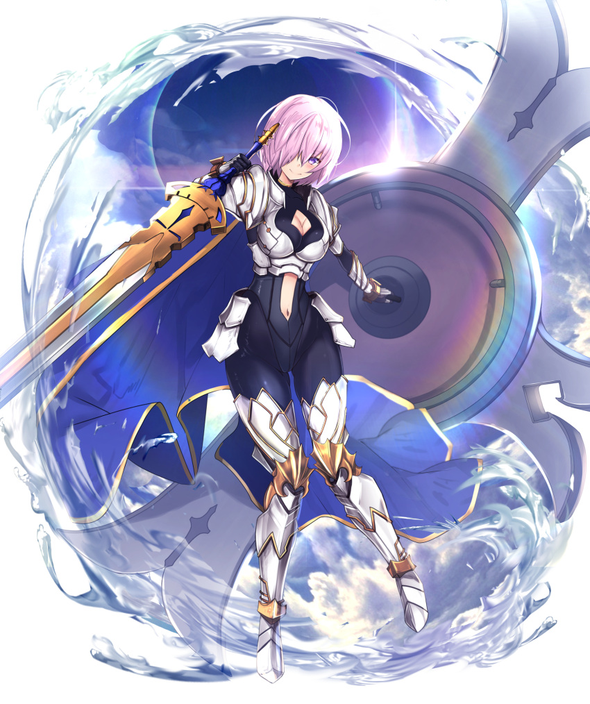 1girl armor armored_boots arondight blush boots breasts cape cleavage closed_mouth collarbone cosplay eyebrows_visible_through_hair fate/grand_order fate_(series) hair_between_eyes hair_over_one_eye highres holding holding_shield holding_sword holding_weapon knight lancelot_(fate/grand_order) lancelot_(fate/grand_order)_(cosplay) large_breasts looking_at_viewer mash_kyrielight navel pink_hair shield short_hair smile solo sword untsue violet_eyes weapon