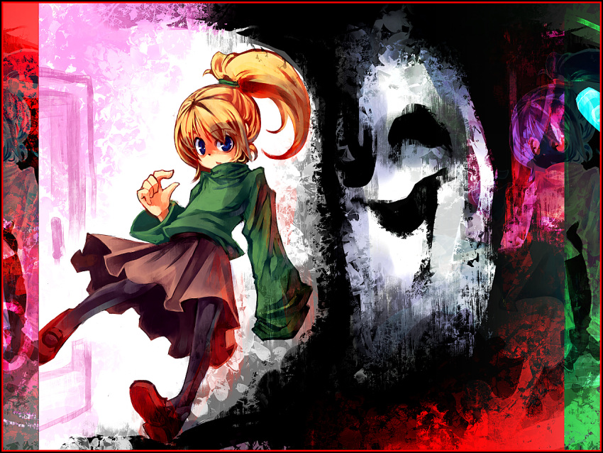 1280x960 blue_eyes darkness door open_mouth pantyhose poniko ponytail skirt turtleneck uboa ukyo_rst wallpaper yume_nikki