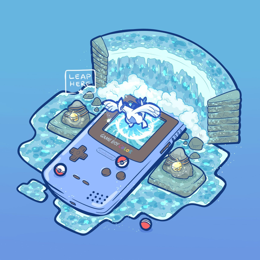 bell blue_background commentary creature creatures_(company) english_commentary flying game_boy_color game_freak gen_2_pokemon handheld_game_console highres lugia nintendo poke_ball poke_ball_(generic) pokemon pokemon_(creature) pokemon_(game) pokemon_gsc simple_background water waterfall whirl_islands_(pokemon) yamato-leaphere