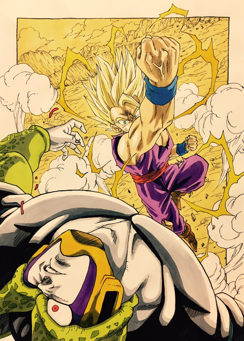 2boys aura battle blonde_hair cell_(dragon_ball) clenched_hands commentary dougi dragon_ball dragonball_z dust dutch_angle electricity face_punch fighting_stance green_eyes highres in_the_face lee_(dragon_garou) male_focus mountain multiple_boys one_eye_closed open_mouth outdoors outside_border perfect_cell punching red_eyes rock short_hair smoke son_gohan spiky_hair super_saiyan_2 upper_body veins wristband