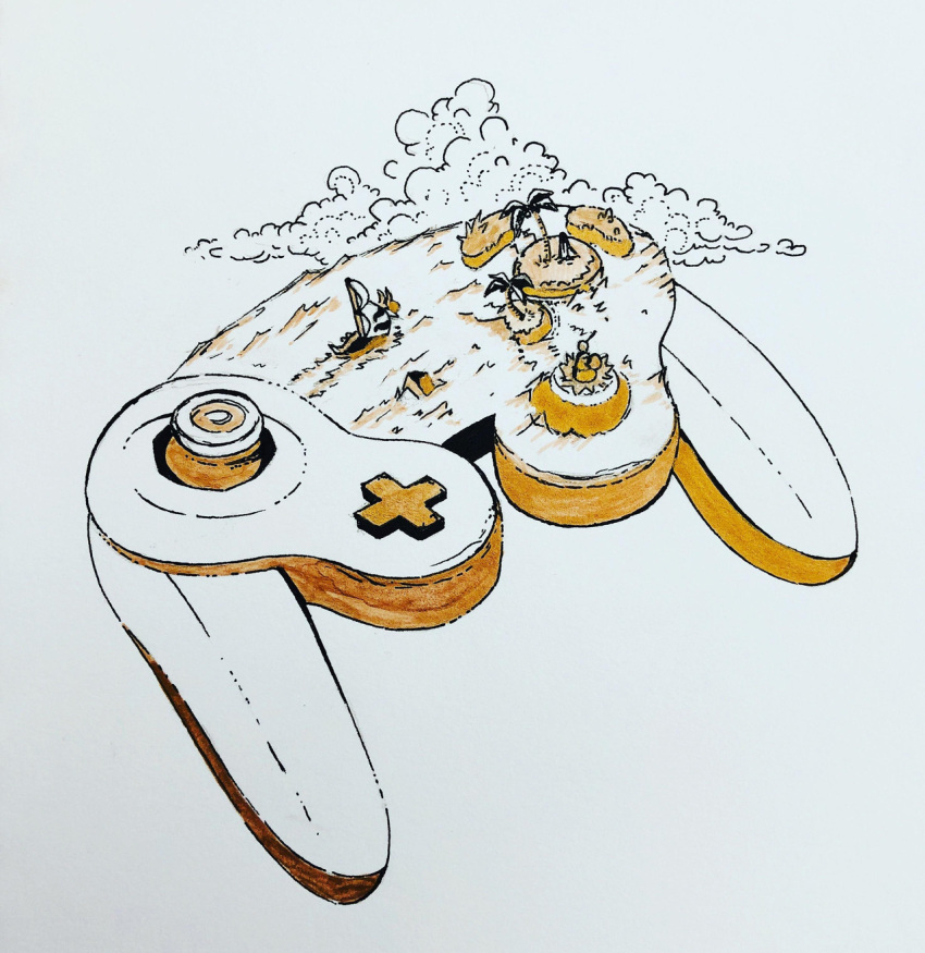 clouds controller game_controller gamecube_controller highres island limited_palette nintendo no_humans ocean palm_tree sepia ship simple_background the_legend_of_zelda the_legend_of_zelda:_the_wind_waker traditional_media tree water watercraft white_background willowstration