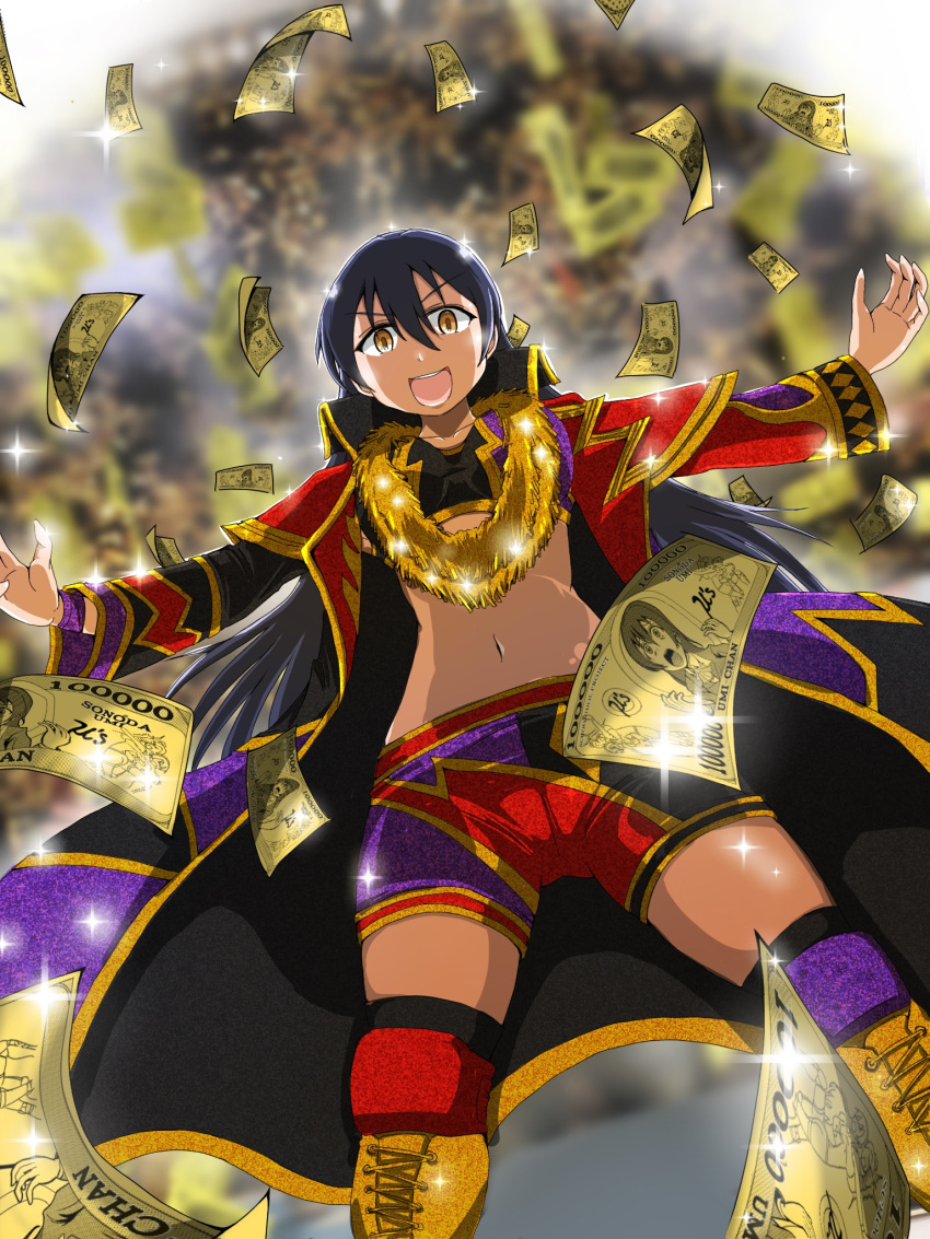 black_hair collar cosplay dollar_bill falling_money gold_necklace hand_gesture highres imitating jewelry knee_pads long_coat long_hair long_sleeves love_live! love_live!_school_idol_project money navel necklace new_japan_pro_wrestling okada_kazuchika open_mouth outstretched_arms parody shorts smile sonoda_umi sparkle user_whrj2724 wrestling wrestling_boots wrestling_outfit yellow_eyes