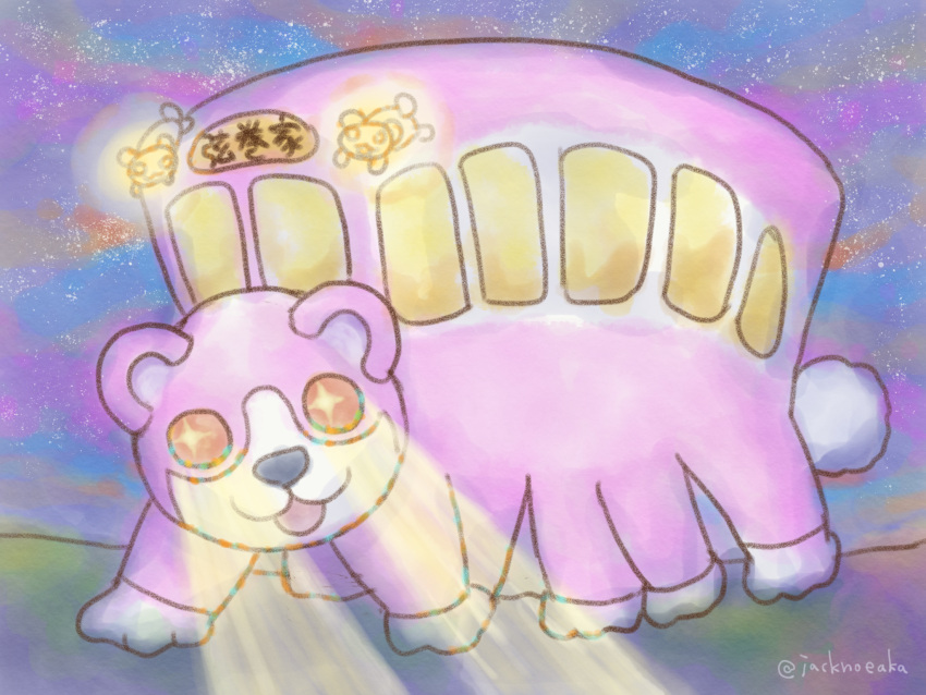 +_+ :3 :d bang_dream! bear glowing glowing_eyes highres jack_(jacknoeaka) light_beam looking_at_viewer michelle_(bang_dream!) nekobus night no_humans open_mouth parody sky smile star_(sky) starry_sky tonari_no_totoro twitter_username