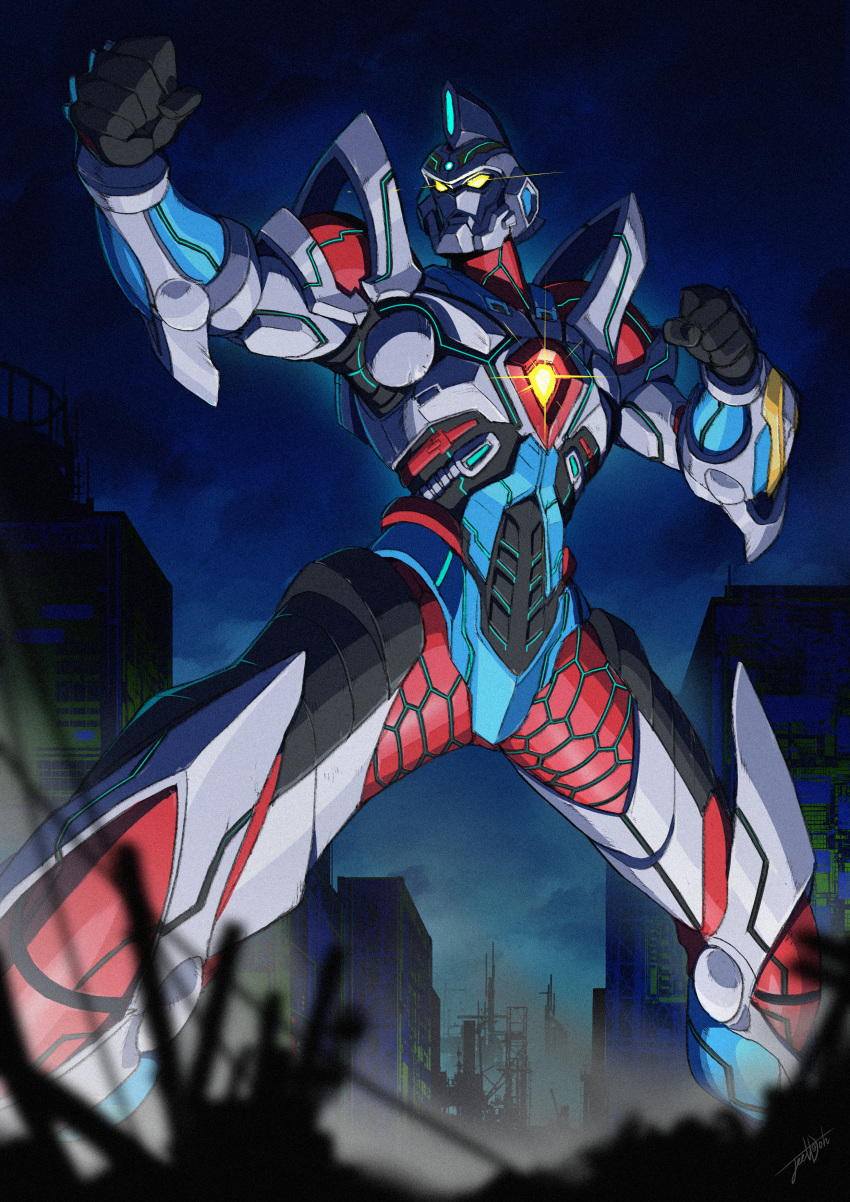 1boy absurdres acceptor armor city clenched_hands commentary english_commentary fighting_stance giant glowing glowing_eyes gridman_(ssss) highres huge_filesize jeetdoh male_focus mecha no_humans no_pupils pose robot shoulder_armor solo ssss.gridman tokusatsu yellow_eyes