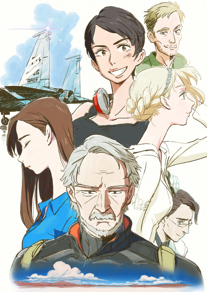 3boys 3girls absurdres ace_combat ace_combat_7 aircraft airplane alma_(ace_combat_7) artist_request avril_mead beard blonde_hair blue_eyes blue_sky brown_eyes brown_hair closed clouds collarbone eyes f-15_eagle facial_hair fighter_jet glasses hair_ornament headphones highres jet long_hair looking_at_viewer mihaly_a_shilage military military_vehicle mountain multiple_boys multiple_girls mustache old_man pilot_suit profile rosa_cossette_d'elise schroeder_(ace_combat_7) short_hair silver_hair sky smile tabloid_(ace_combat_7) tank_top