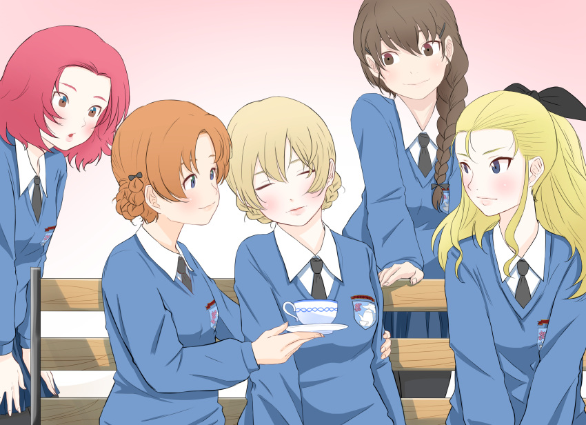 5girls :o absurdres arm_around_back assam bangs bench black_bow black_neckwear black_ribbon blonde_hair blue_eyes blue_sweater bow braid brown_eyes brown_hair closed_eyes closed_mouth commentary cup darjeeling dress_shirt emblem girls_und_panzer gradient gradient_background hair_bow hair_ornament hair_over_shoulder hair_pulled_back hair_ribbon hairclip hand_on_hip hands_on_own_thighs head_tilt highres holding_saucer light_blush long_hair long_sleeves looking_at_another medium_hair multiple_girls necktie open_mouth orange_hair orange_pekoe oze_(xyz_go_go11) parted_bangs parted_lips pink_background redhead ribbon rosehip rukuriri saucer school_uniform shirt short_hair single_braid sitting sleeping smile st._gloriana's_(emblem) st._gloriana's_school_uniform standing sweater teacup tied_hair twin_braids v-neck v_arms white_shirt wing_collar
